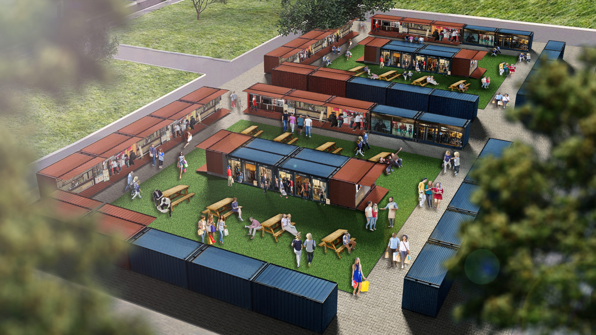Mangawhai Central container market 3D render 1