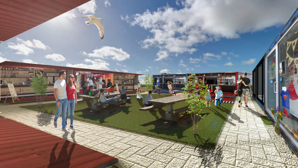 Mangawhai Central container market 3d render 2